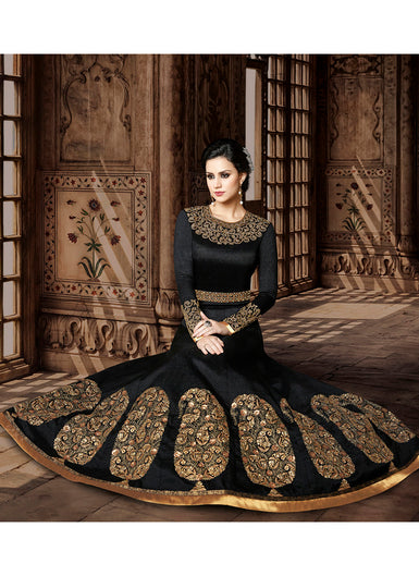 Black and Gold Embroidered Silk Anarkali Suit