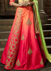 Beige and Pink Multicolor Embroidered Silk Lehenga - Lashkaraa