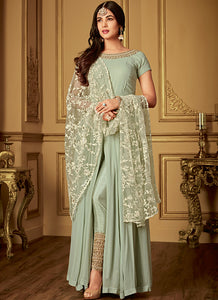 Mint Embroidered Georgette Pant Style Anarkali