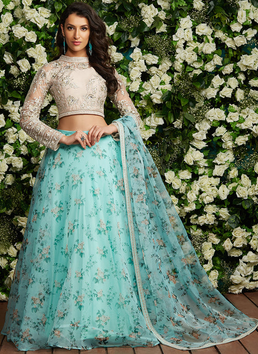 Mint Floral Embroidered Organza Lehenga