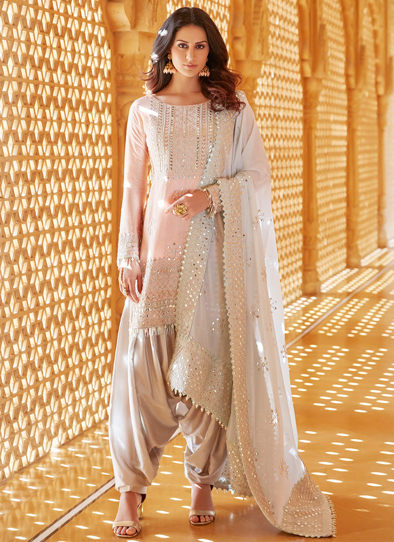 Peach and Grey Embroidered Punjabi Suit