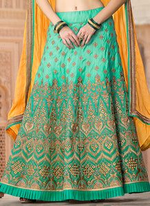 Light Blue and Beige Multicolor Embroidered Silk Lehenga
