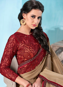 Maroon and Beige Embroidered Chiffon Saree