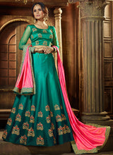 Teal and Pink Embroidered Silk Lehenga