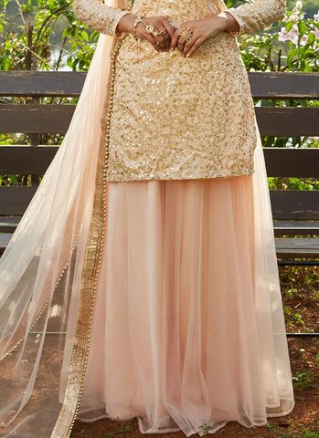 Blush Pink Sequins Embroidered Net Lehenga