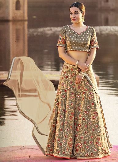 Light Grey and Beige Embroidered Silk Lehenga