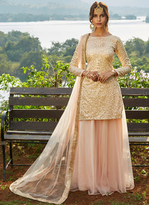 Blush Pink Sequins Embroidered Net Lehenga - Lashkaraa