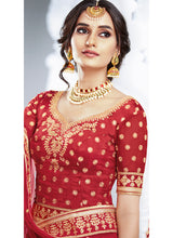 Red Embroidered Silk Lehenga