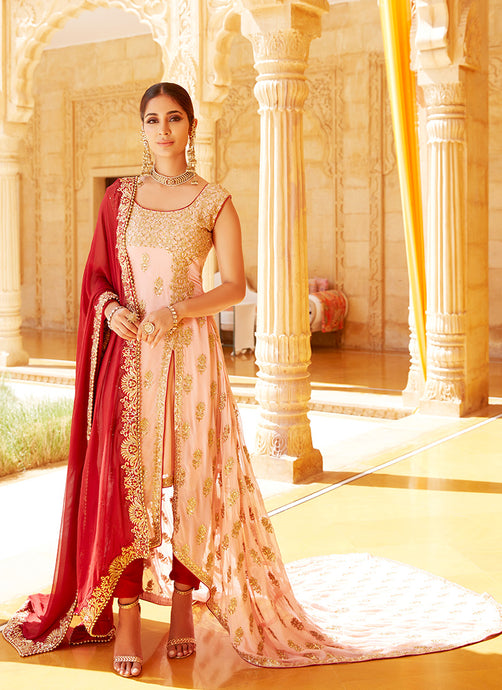 Nude Pink and Maroon Anarkali With Trail
