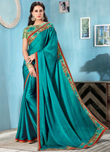 Blue and Pista Embroidered Chiffon Saree - Lashkaraa