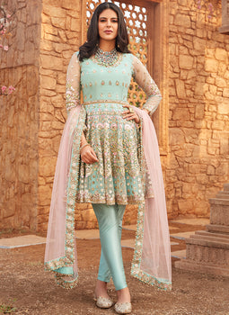 Dusty Mint and Pink Embroidered Peplum Anarkali