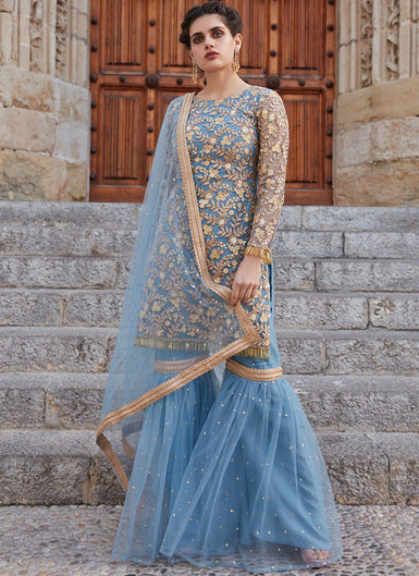 Baby Blue Embroidered Net Gharara Suit - Lashkaraa