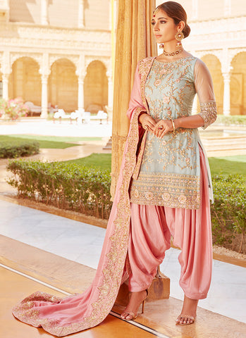 Mint and Pink Embroidered Punjabi Suit