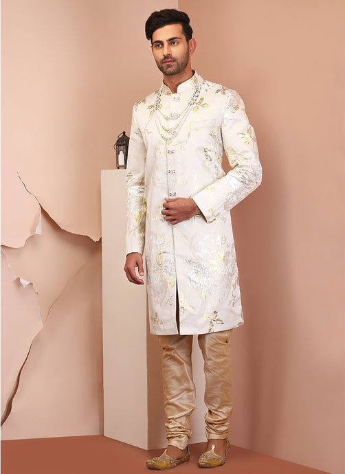 White Embellished Raw Silk Sherwani