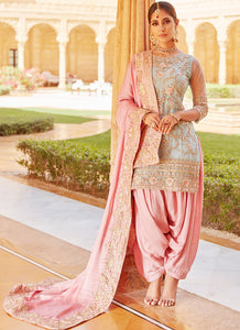 Mint Green and Pink Embroidered Punjabi Suit