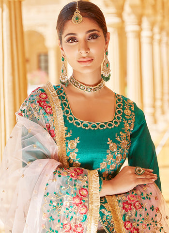 Emerald Green Floral Embroidered Straight Suit