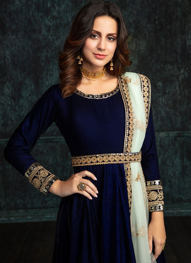 Navy Blue Velvet Embroidered Anarkali