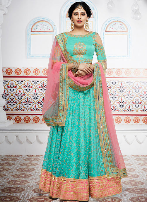 Turquoise and Peach Embroidered Net Lehenga