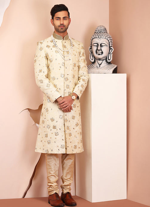 Cream Embellished Raw Silk Sherwani - Lashkaraa