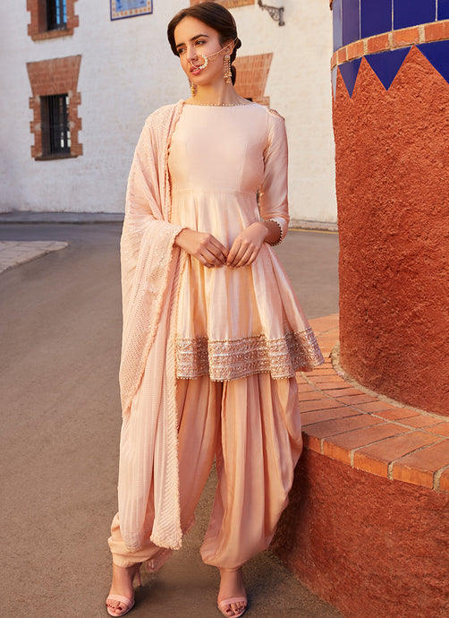 Blush Cold Shoulder Peplum Style Punjabi Suit - Lashkaraa
