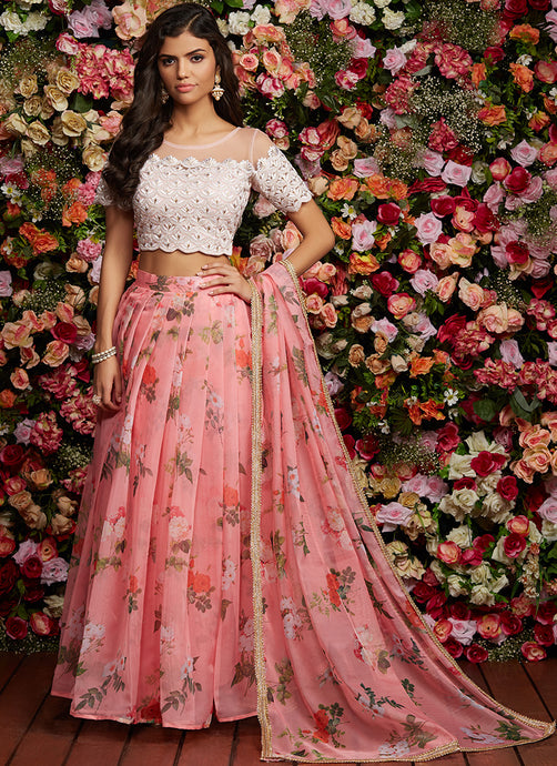 Pink Floral Embroidered Organza Lehenga