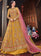 Yellow and Pink Net Anarkali Style Lehenga