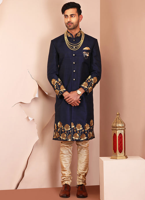 Deep Blue Embroidered Raw Silk Sherwani