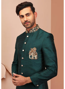 Teal Green Embroidered Raw Silk Sherwani