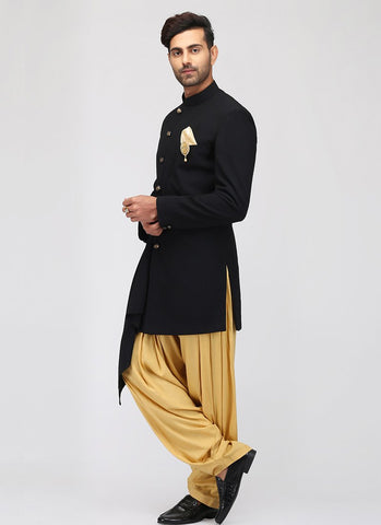 Black and Gold Indo Western Set - Lashkaraa