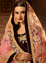 Wine and Gold Embroidered Velvet Lehenga