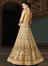 Cream and Gold Embroidered Net Anarkali Suit