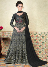 Black and White Embroidered Satin Anarkali - Lashkaraa