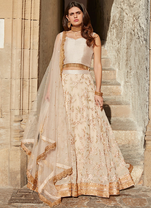 Nude Beige Embroidered Georgette Lehenga