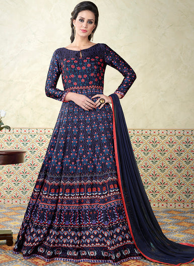 Blue and Purple Embroidered Satin Anarkali - Lashkaraa