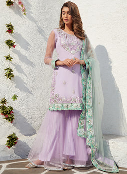 Lavender and Mint Embroidered Gharara Suit