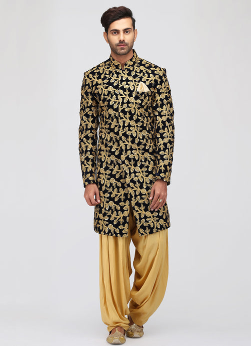 Black and Gold Embroidered Sherwani - Lashkaraa