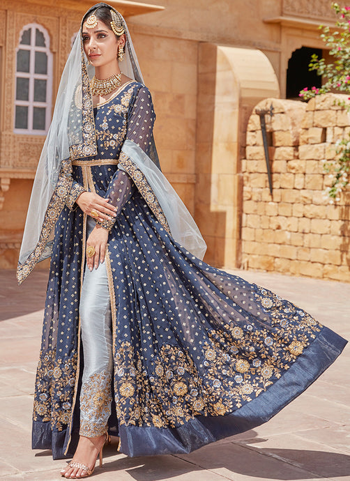 Navy Blue With Dusty Blue Pant Style Anarkali