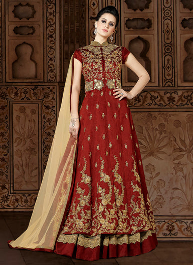 Red and Beige Embroidered Silk Lehenga