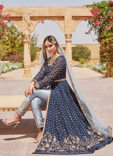 Navy Blue and Dusty Blue Pant Style Anarkali