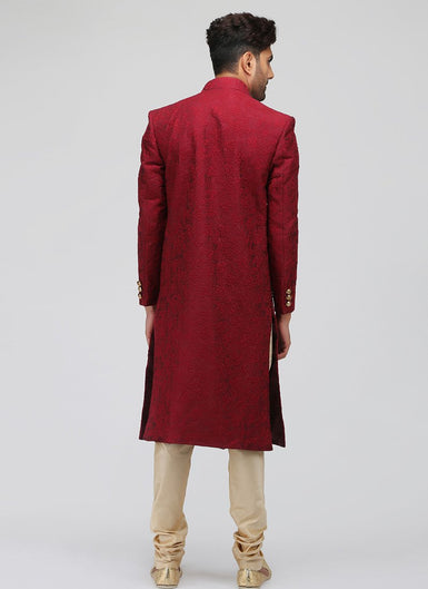Red and Gold Embroidered Silk Sherwani