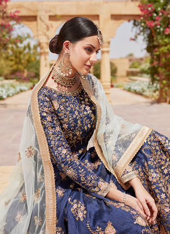 Navy Blue and Mint Embroidered Anarkali Suit