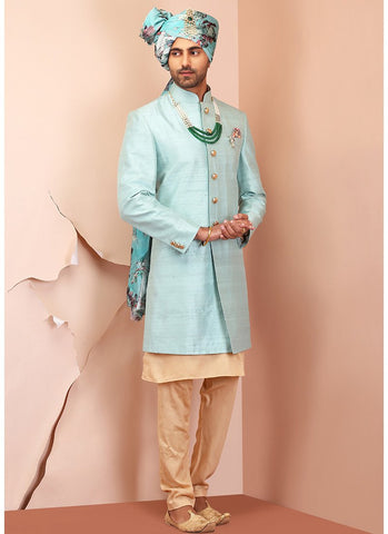 Light Blue Raw Silk Sherwani Set