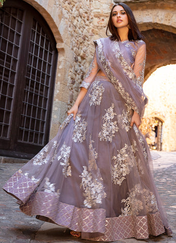 Dusty Purple and Silver Embroidered Lehenga