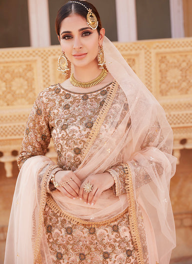 Peach Heavy Embroidered Gharara Suit