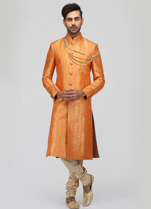 Light Orange Brocade Sherwani
