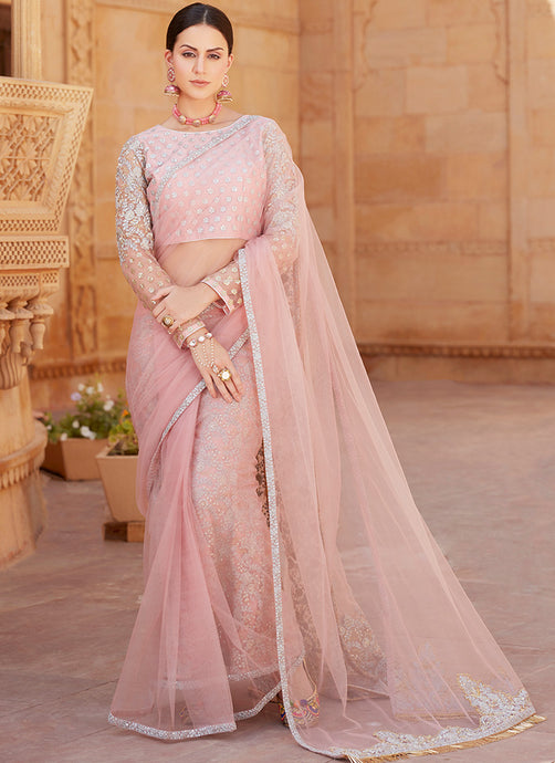Rose Pink Double Pallu Saree