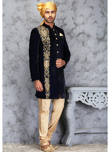 Navy Blue and Gold Embroidered Velvet Sherwani