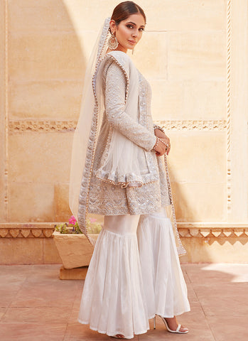 Silver White Heavy Embroidered Gharara Suit
