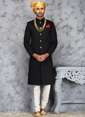 Black and White Silk Sherwani - Lashkaraa