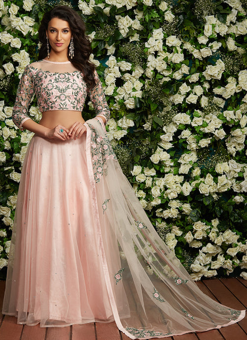 Light Pink Net Floral Embroidered Lehenga